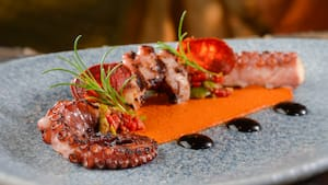 Grilled octopus paired with chorizo, salsa and sauces