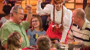 Dolly Drew, one of the Pioneer Players, greets a table of Guests at Hoop Dee Doo Musical Revue