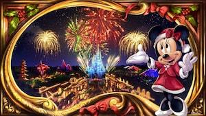 A Minnie Mouse apresenta alegremente fogos de artifício explodindo sobre o Cinderella Castle