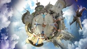 Una foto aérea de 360grados con efectos especiales muestra a una familia en Star Wars Galaxy's Edge con un caza estelar Ala-X sobrevolando