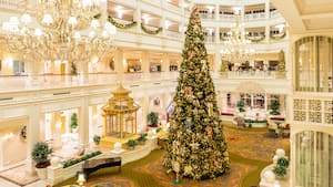 A massive Christmas tree in the lobby of Disney's Grand Floridian Resort & Spa