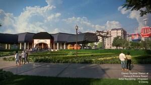 Dos góndolas de Disney Skyliner pasando por Disney's Riviera Resort