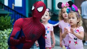 Spider-Man near 3 girls
