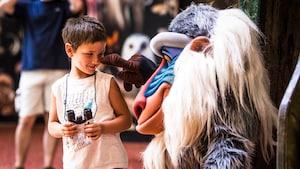 Rafiki toca la nariz de un niño en Rafiki's Planet Watch, en el parque temático Disney's Animal Kingdom