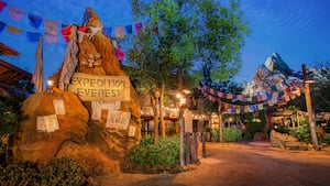 Signs identify Expedition Everest and warn Guests to beware of its perils