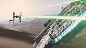 Two approaching TIE fighters fire blasters at the Millennium Falcon