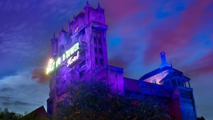 The Twilight Zone Tower of Terror lords ominously into the evening sky at Disney's Hollywood Studios