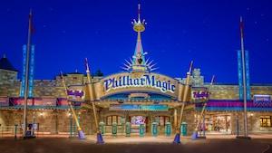 Vibrant signage at the entrance to Mickey's PhilharMagic, located in Fantasyland at Magic Kingdom park