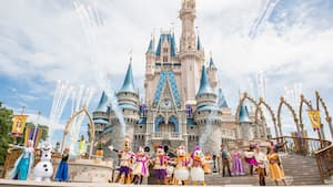 Mickey, Minnie, Donald, Daisy, Goofy and other characters pose during Mickey's Royal Friendship Faire