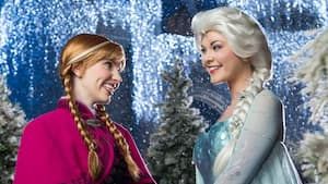 Anna y Elsa se sonríen durante la transformación Frozen Holiday Wish en el Parque Temático Magic Kingdom