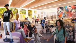 Concept art depicting people shopping in a store featuring apparel, toys, Minnie Mouse ear headbands, a Mickey Mouse mural and a mannequin with an EPCOT logo T shirt and hat