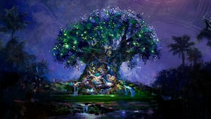 An artistic picture depicts the Tree of Life lit up colorfully at night.