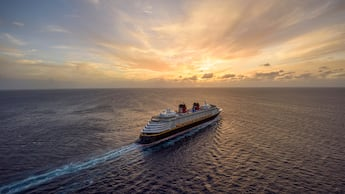 A view of a Disney cruise ship out at sea