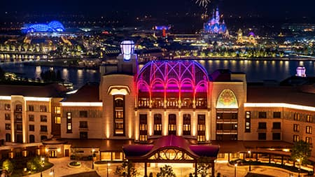 The Shanghai Disneyland Hotel lit up at night