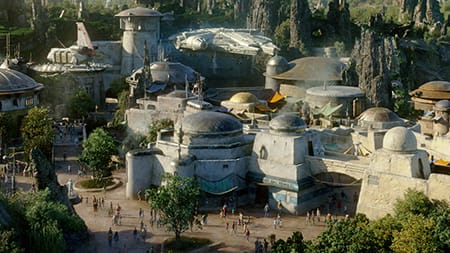 A bird's eye view of the Batuu Outpost with the Millennium Falcon
