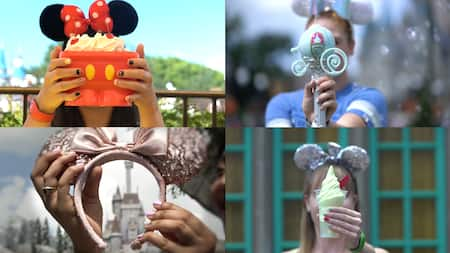 A photo collage of girls holding up various objects to show off their Disney themed manicures