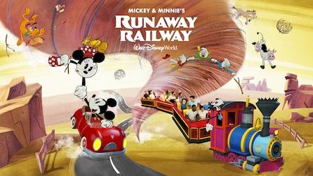 El texto 'Mickey and Minnie's Runaway Railway Walt Disney World Resort' sobre un tornado que persigue a Mickey, Minnie, Goofy y otros