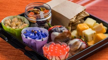 Tray with various snack-sized treats