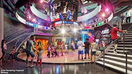 Adults and children in a circular room with staircases on both sides and an NBA Best Plays screen above