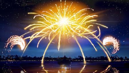 Fogos de artifício explodem sobre uma lagoa no Walt Disney World Resort, refletidos nas águas