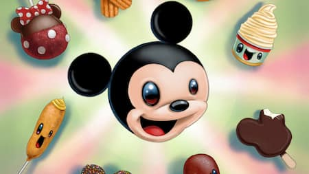 Illustrations of whimsical Disney inspired objects, including a corn dog with a face, a smiling cup of soft serve and a Mickey Mouse head