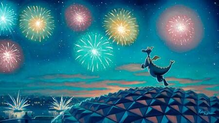 Figment volando sobre Spaceship Earth para mirar los fuegos artificiales que estallan sobre World Showcase Lagoon