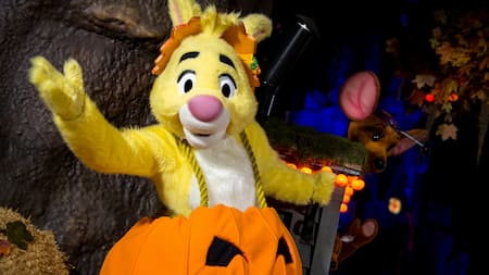 Rabbit of Winnie the Pooh fame in a pumpkin costume