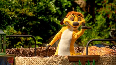 Timon de The Lion King saluda a los Visitantes mientras pasa a bordo de una carroza de barco por el Parque Temático Disney's Animal Kingdom