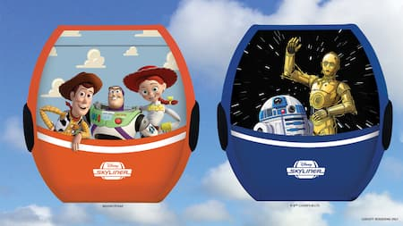 An illustration of 2 aerial gondolas transporting Woody, Jessie, Buzz, C3PO and R2D2