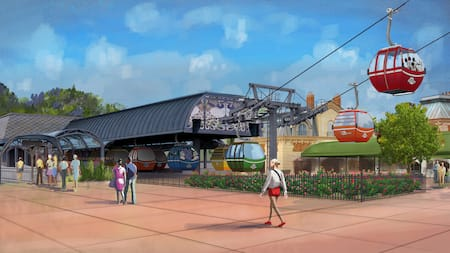 Artist rendition of the Disney Skyliner Gondola at Walt Disney World Resort