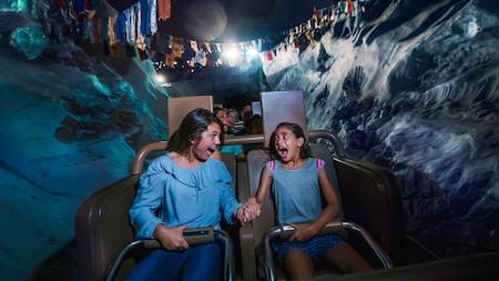 Des visiteurs criant d'enthousiasme sur l'attraction Expedition Everest