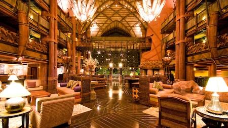 Lobby lounge area with a balcony window overlooking the savanna
