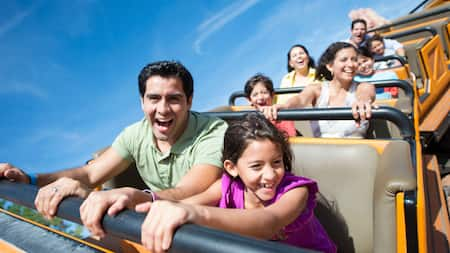 Guests ride on one of the roller coasters at Walt Disney World Resort