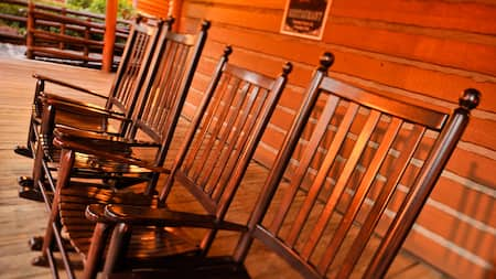 Row of rocking chairs at Disney's Fort Wilderness Resort