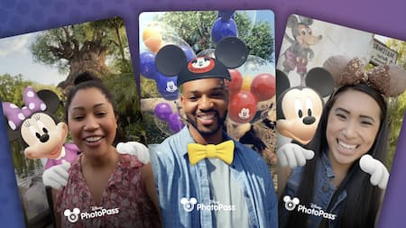 A collage with 3 photographs, each with a smiling person and the Disney PhotoPass logo. The first photograph is a woman standing in front of The Tree of Life with Minnie Mouse superimposed with her hands on her shoulders. The second is a man with a superimposed bowtie, Mickey Mouse ear hat and Mickey Mouse shaped balloons. The third is a woman wearing glittery Minnie Mouse ears with Mickey Mouse superimposed with his hands on her shoulders.