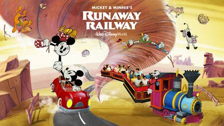 """The words 'Mickey and Minnie's Runaway Railway Walt Disney World Resort' over a tornado chasing Mickey, Minnie, Goofy and others"""" st"""