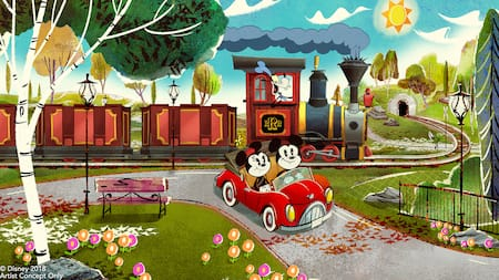 Mickey Mouse and Minnie Mouse drive by Goofy's train in a roadster