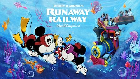 Des gens à bord d'un train sous l'eau entouré d'amis qui nagent, dont Mickey, Minnie et Pluto