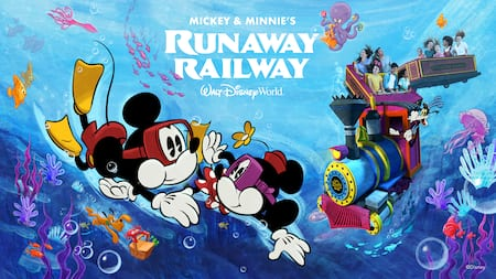 People ride a train underwater surrounded by swimming friends including Mickey, Minnie and Pluto
