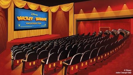 """Las palabras """"Mickey and Minnie Vacation Fun"""" se muestran en la pantalla de un cine"""