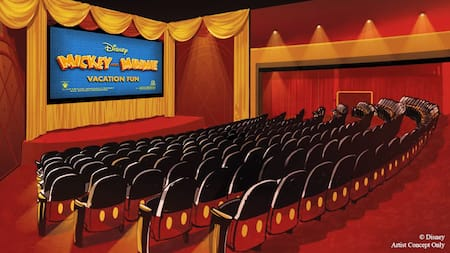 A movie theater with the words 'Mickey and Minnie Vacation Fun' on the screen