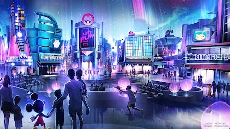 Arte conceitual de uma família ao lado do Mickey Mouse apreciando uma cidade modernista