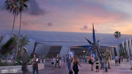 Ilustração conceitual da fachada da atração Guardians of the Galaxy