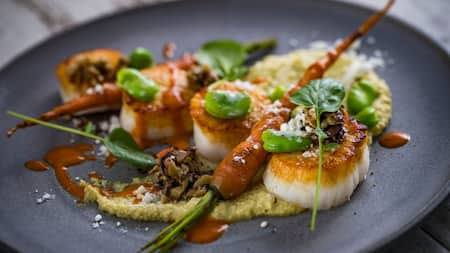 Scallops served with cooked carrot sticks