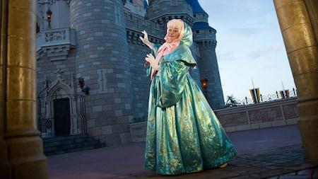 Cinderella's fairy godmother pointing toward a castle