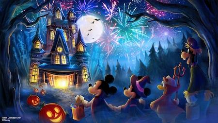 Concepto artístico de Mickey, Minnie, Donald Duck y Goofy jugando al dulce o truco cerca de una vieja mansión y de una exhibición de fuegos artificiales