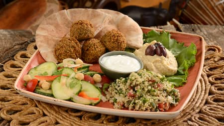 A square dish with ingredients to make a falafel including vegetables and hummus