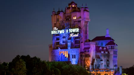 The Hollywood Tower Hotel illuminated at night