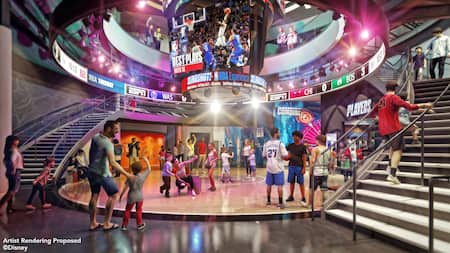 720894acdbb Adults and children in a circular room with staircases on both sides and an  NBA Best