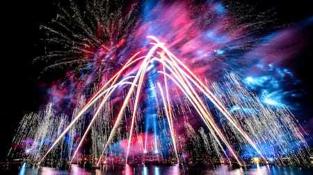 Fireworks and laser effects over World Showcase as part of Epcot Forever